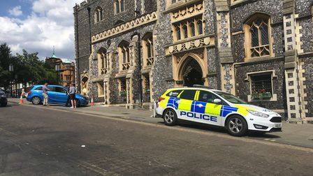 The blue Mercedes Benz car which rolled into Norwich Guildhall. Picture: SOPHIE WYLLIE