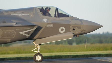 The first F-35 B Lightning stealth aircraft piloted by Wing Commnder John Butcher touches down at RA