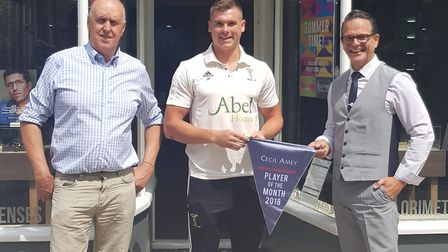 Swaffham captain Jasper Payne has been named player of the month for June in the Cecil Amey Optician