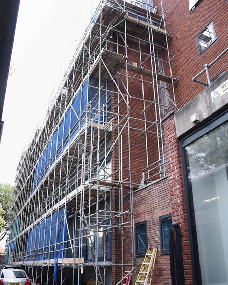The scaffolding at Grosvenor House in Prince of Wales Road. Picture: DENISE BRADLEY