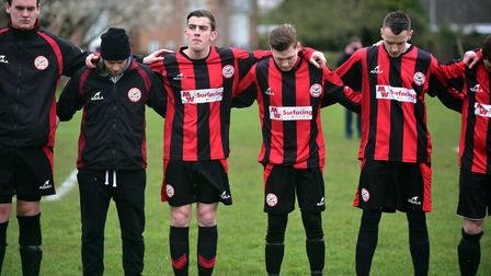 A minutes silence and then applause is held ahead fo the Wymondham Town football match in memory of