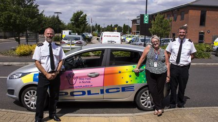 Chief Inspector Craig Miller, Julie Inns and Superintendent Jason Broome with the new community car.