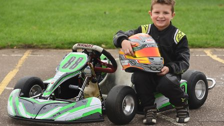 Karting enthusiast, six-year-old Logan Howes from Carleton Rode. Picture: DENISE BRADLEY