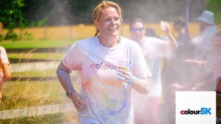 Elise Mitchell in action at the Colour 5K run. Picture: Colour 5K