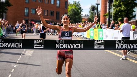 Emma Risbey celebrates her win at Run Norwich 2017. Picture: Epic Action Imagery