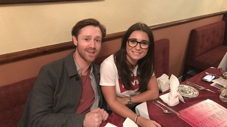 Actor and producer James Littlewood with Dani Dyer at a curry house in Beccles before starting filmi