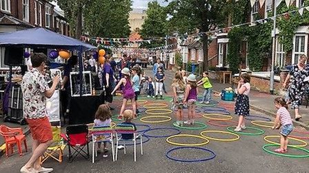 Residents of Wood Street, Norwich, at their fundraising street party for East Anglia's Children's Ho