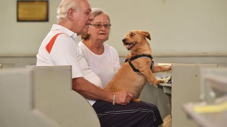 Pet service at Christ Church New Catton. David and Anita Myhill with their dog, Monty.Picture: ANTON