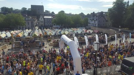 Runners preparing to set off from the start of the 2018 Run Norwich. Picture: Martin Schmierer