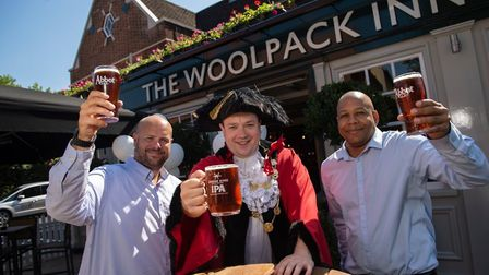 The Mayor of Norwich, pictured here with Woolpack manager Ian Judge (left) and assistant manager Kev