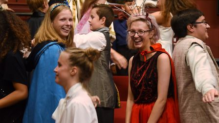 Some of the cast during the warm up before the dress rehearsal of the Beauty and the Beast summer pr