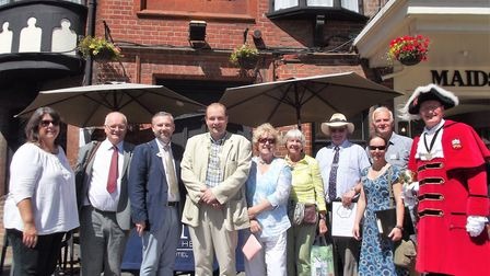 Britain in Bloom judges with city dignitaries and members of Friends of Norwich in Bloom group outsi