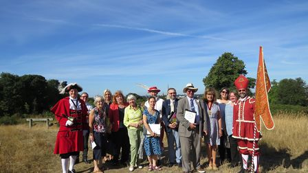 Britain in Bloom judges with members of Friends of Norwich in Bloom group by Cafe Britannia on Brita