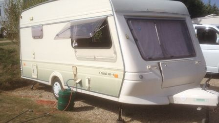 Stephen Smith's caravan which he had to leave at a motorway services after the towing vehicle broke