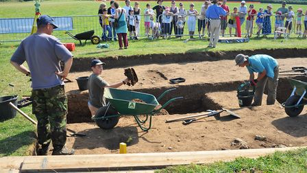 Archeologists and volunteers working at Venta Icenorum during the open weekend.Photo: Bill Smith