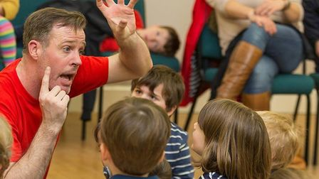Paul Andrew Goldsmith is enthusing youngsters about performing on Pyjama Drama Mid Norfolk fairytale