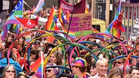 Thousands of people march through the city centre to celebrate Norwich Pride.Picture: Nick Butcher