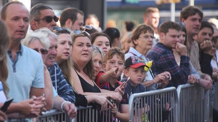 Spectators cheer on the competitors in Run Norwich 2017 in the city centre. Picture: DENISE BRADLEY