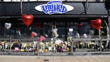 Messages and floral tributes to nightclub owner, Ibish Peri at Bished. Picture: DENISE BRADLEY