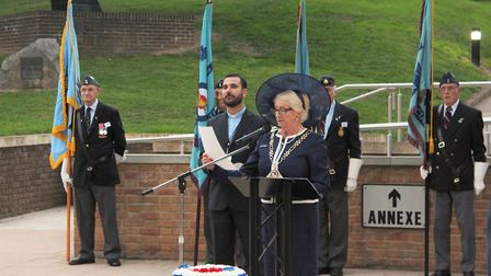 Margaret Stone, chairman of Norfolk County Council addressing the crowd at a special battle of Brita