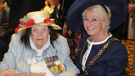 Council chairman Margaret Stone with 98-year-old war veteran Murial Bol. Pic: Norfolk County Council