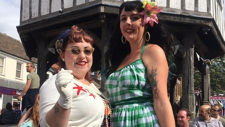 Leanna Knight and Kirsty Thompson in 1940s style at Wymondham Vintage Day. Picture: Simon Parkin