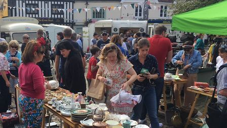 Stalls at the Market Cross as part of Wymondham Vintage Day. Picture: Simon Parkin