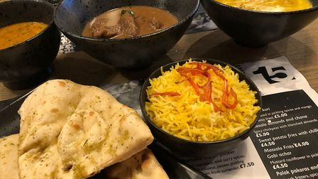 Daal Makhni (slow cooked mixed lentils, fine spices and buttermilk), Persian beef curry and Mandarin