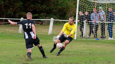 Swaffham Town's Joe Jackson has his attempt blocked by the visiting keeper during Saturday's 4-0 win