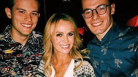 Jack and Chris Reeve of Talk Norwich City with Amanda Holden at Jake Humphrey's 40th birthday Credit
