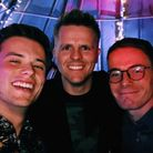 Jack and Chris Reeve of Talk Norwich City with Jake Humphrey at his 40th birthday party Credit: Twit