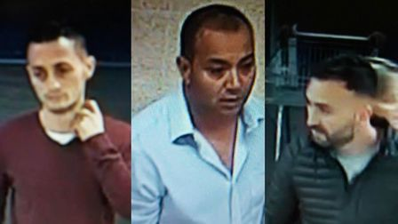 Police have released CCTV images of three men after alcohol was stolen from three supermarkets in No