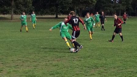 Action from Farmhouse against Poringland in the Norwich Sunday League. Picture: Norwich Sunday Leagu