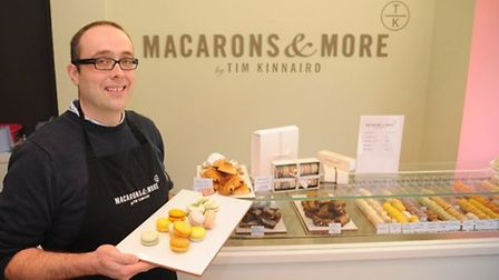 Dr Tim Kinnaird in his shop, Macarons and More, at the Royal Arcade. Picture: Denise Bradley