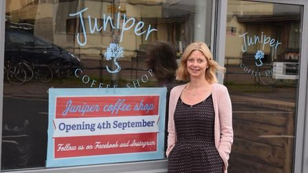 Tracey Skitmore-Rout outside her new coffee shop. Photo: Peter Rout