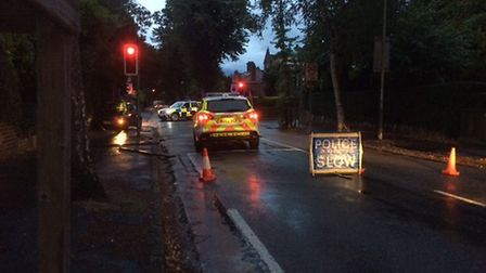 The scene of the crash on Christchurch Road in Norwich. Picture: Staff