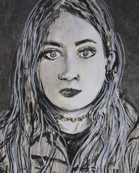 The finished depiction of fellow artist Annabel Gaelle by Tom Hill. PHOTO: Tom Hill