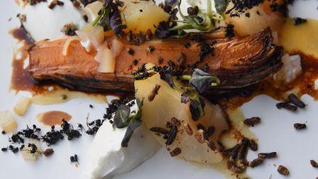 A previous dish of pickled poached pear, chicory, whipped goats cheese, salted honey and covered wit