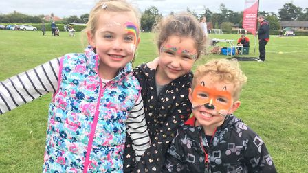 (L-R) Isabelle Sayer, 5, Maddison Boone, 5, and William Boone, 3 at the event in Hethersett. Picture