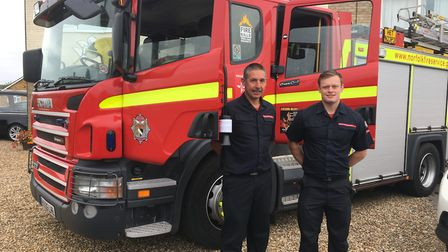Hethersett retained firefighters Stuart Woodrow (left) and Grant Byes were among those attending to