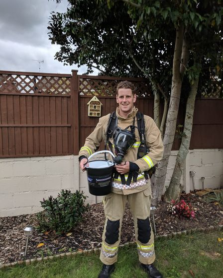 Firefighter Mark Matless, who completed a duathlon in full firefighting gear as part of the sports d
