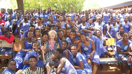 Lynne Symonds with pupils from the Wulugu Secondary School. Picture: Lynne Symonds