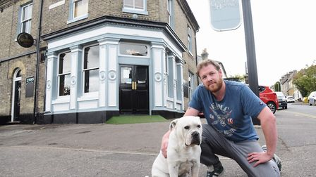 Landlord Oscar Gerdes and Dottie at the Garden House in Pembroke Road, which is closing. Picture: DE