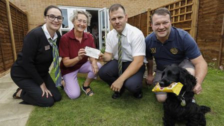Heidi Moore, Barratt Homes sales adviser, Veronica Colley, Leon Calder and Tommy Luxton, site manage