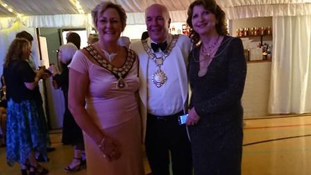 Watton mayor Tina Kiddell (left) with the Thetford mayor Roy Brame and his wife. Picture: Tina Kidde