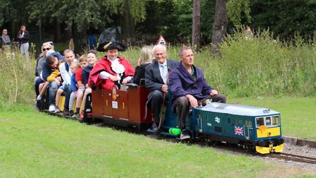 Lord Mayor of Norwich, Martin Schmierer enjoying a ride on the Eaton park Miniature Railway. Picture