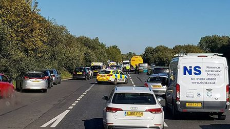 The incident on the A11. Picture: Marcin Zarkowski