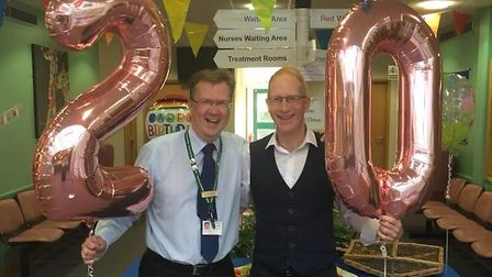 Dr Steven Brown and Prescription's Manager Ian Websdale, ready to welcome patients on the 20th birth