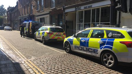 The incident on King Street in Norwich. Photo: Lauren Cope