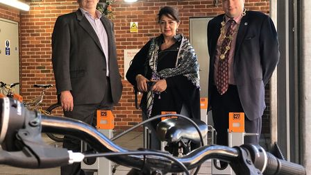 L-R Stefan Gurney (Norwich Business Improvement District), Shireen Naghshineh (Sekura-byk), Cllr. Ma